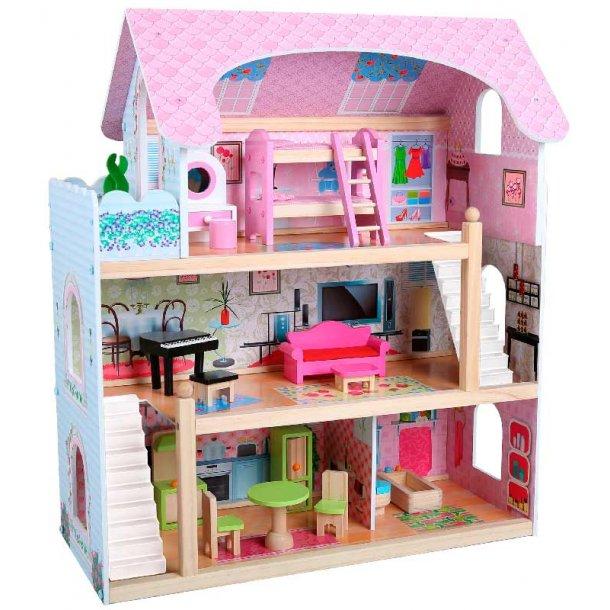 trædukkehus med møbler