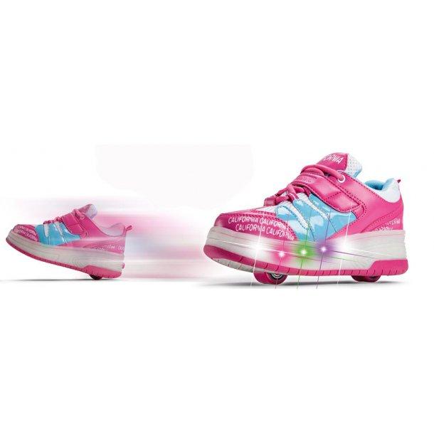 Ryddig California rullesko pink med lys i sålen - Køb rullesko til piger her NY-89