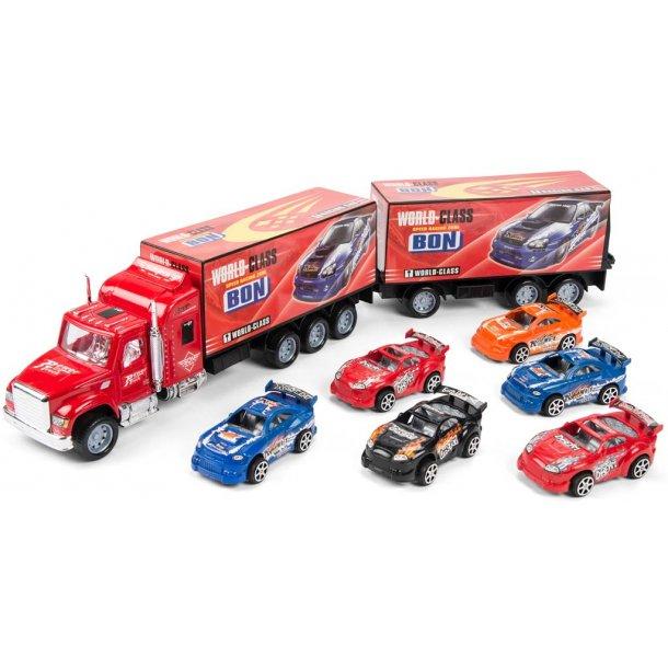 Lastbil med 6 biler