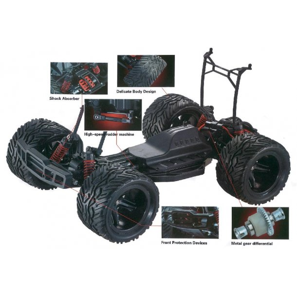 Fjernstyret bil Blackzon monster truck red - 1:12