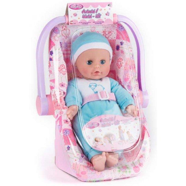 My baby dukke med autostol - blå