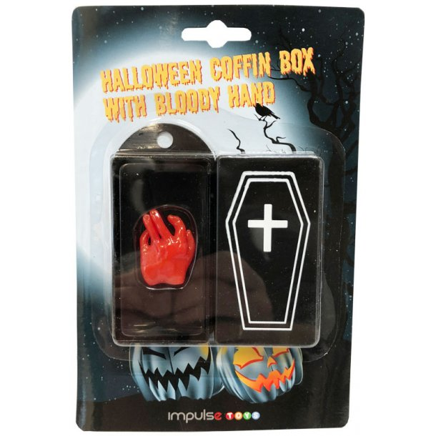 Kiste med blodig hånd