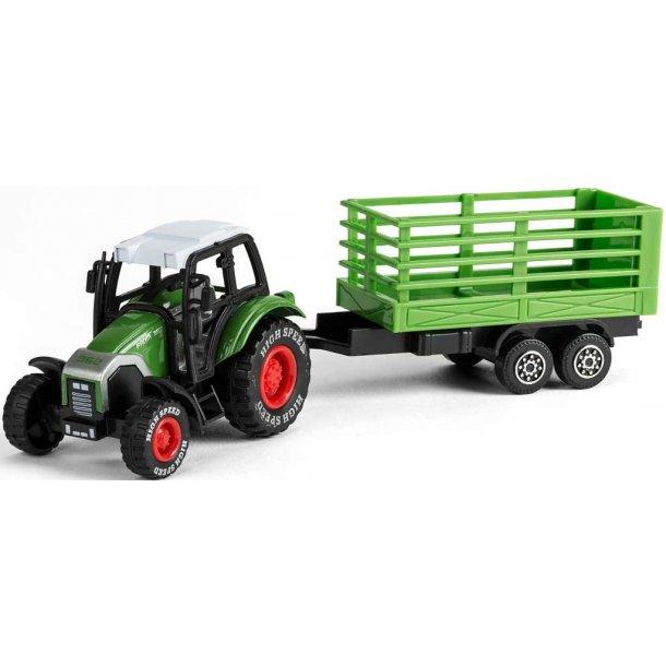 Bull traktor med halmvogn