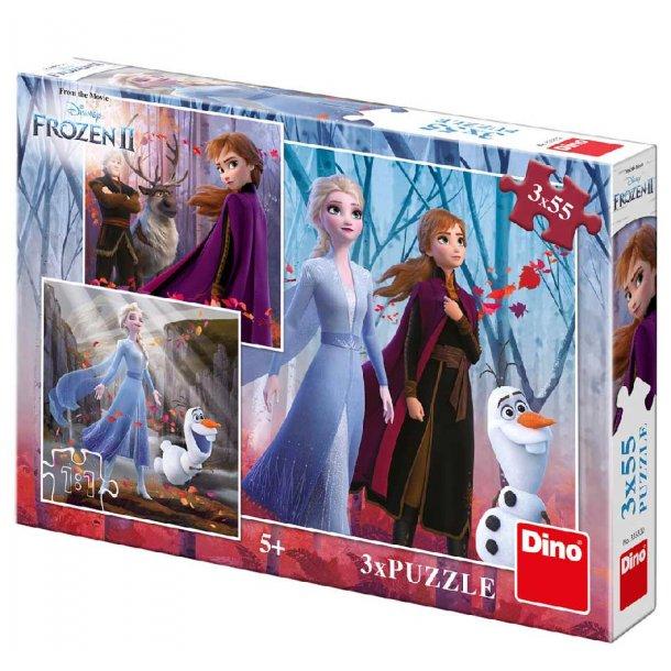 Frozen 2 puslespil - 3 i 1 med 55 brikker
