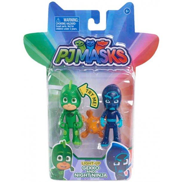 PJ masks figur pakke med lys - Gekko & Night ninja