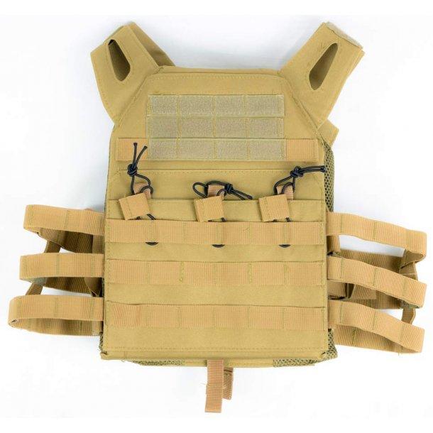 Plate carrier vest med molle - Tan
