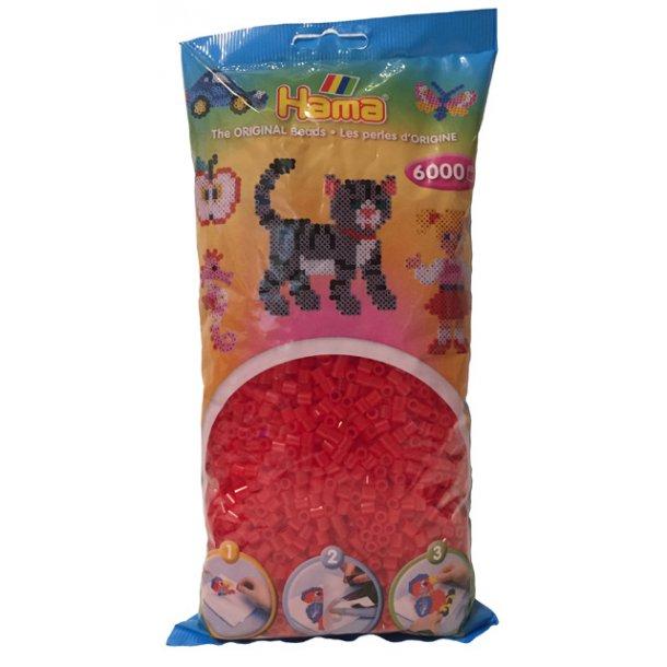 Hama midi perler 205-13 - 6000 stk. transparent rød