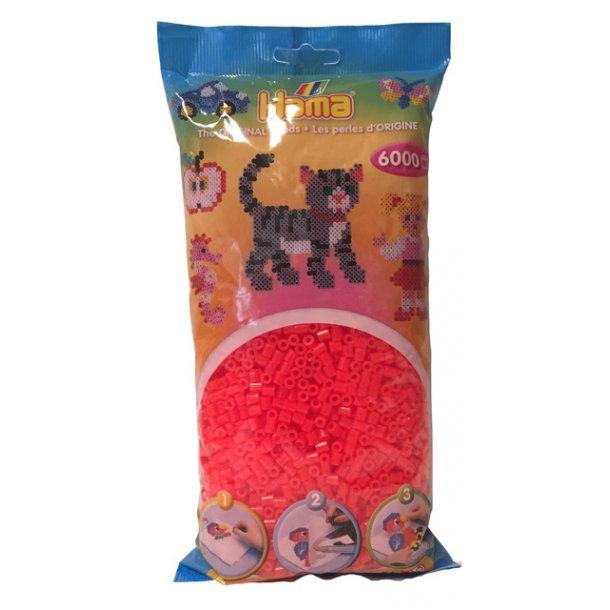 Hama midi perler 205-35 - 6000 stk. neon rød