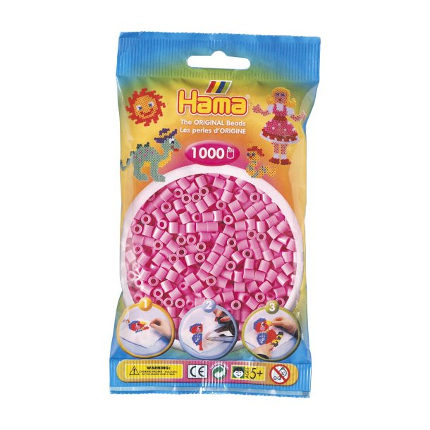 Hama midi perler 207-48 1000 stk. Pastelfarvet pink