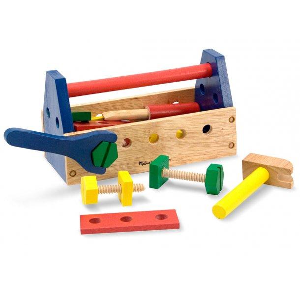 Værktøjskasse i træ med 24 dele