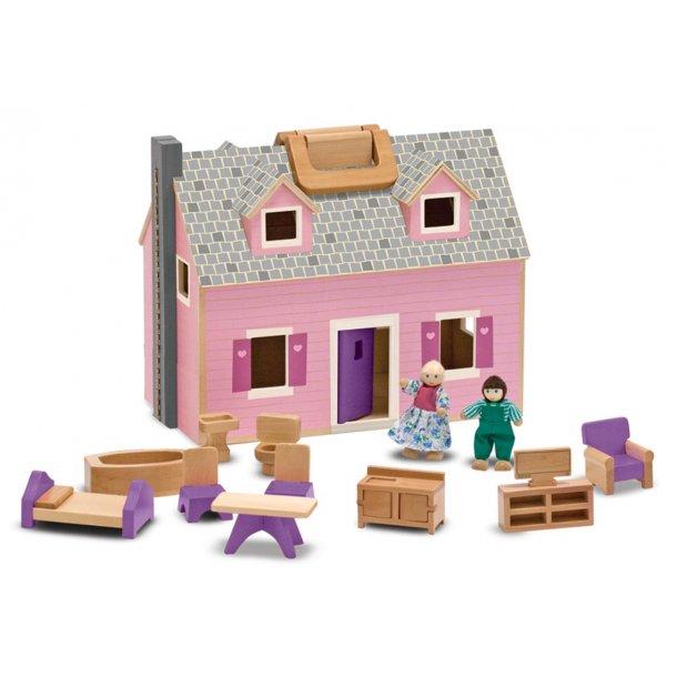 Dukkehus i træ med dukker og møbler