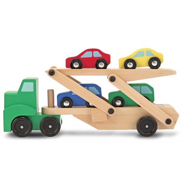 Autotransporter i træ med 4 biler