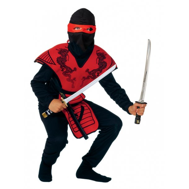 Fastelavnsdragt - Rød ninja str. 140