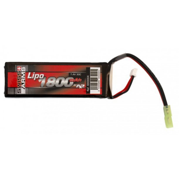 Lipo Batteri 7,4V 1800 mAh 30C - lille stik