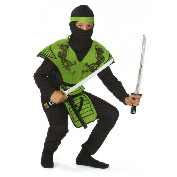 Fastelavnsdragt - Grøn ninja str. 140
