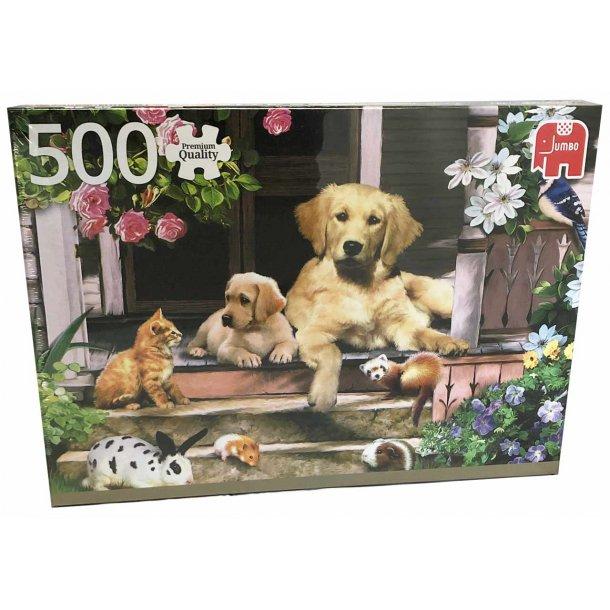 Jumbo puslespil 500 brikker - hunde og kat