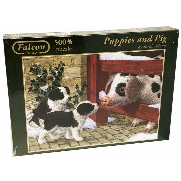 Falcon de luxe puslespil 500 brikker - hundehvalpe