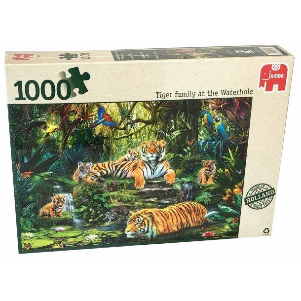 Jumbo puslespil 1000 brikker - Tiger familie