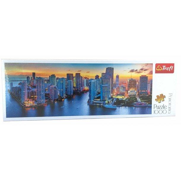Panorama puslespil 1000 brikker - Miami after dark